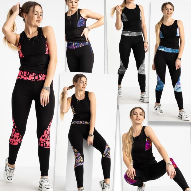 0468-107 фитнес-костюм женский стрейчевый микс 6-ти цветов (12 ед. размеры: S-M/6, L-XL/6) Фитнес-костюм: артикул 1120241