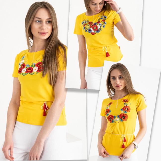 1820 желтая футболка-вышиванка женская микс моделей (5 ед. размеры: S.M.L.XL.2XL) Футболка: артикул 1120651