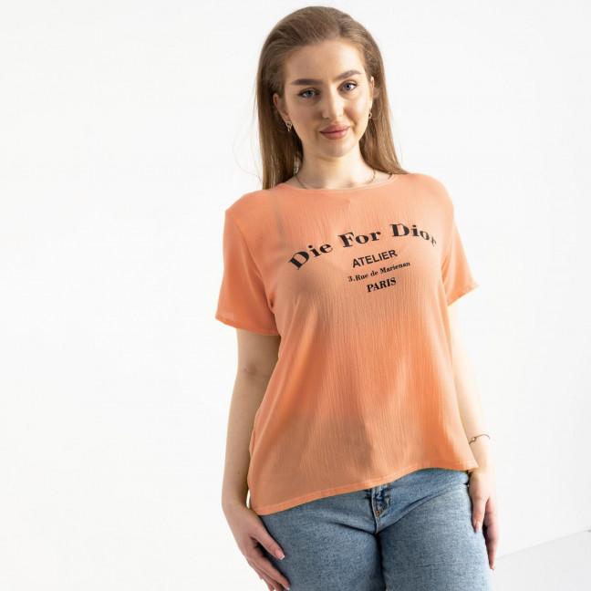 2024-7 футболка женская персиковая батальная с принтом (5 ед. размеры: 52.54.56.58.60) Футболка: артикул 1122410