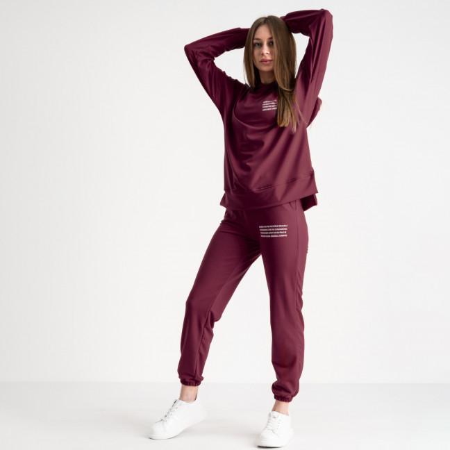 15115-11 бордо спортивный костюм женский из двунитки (4 ед. размеры: S.M.L.XL) Спортивный костюм: артикул 1119277