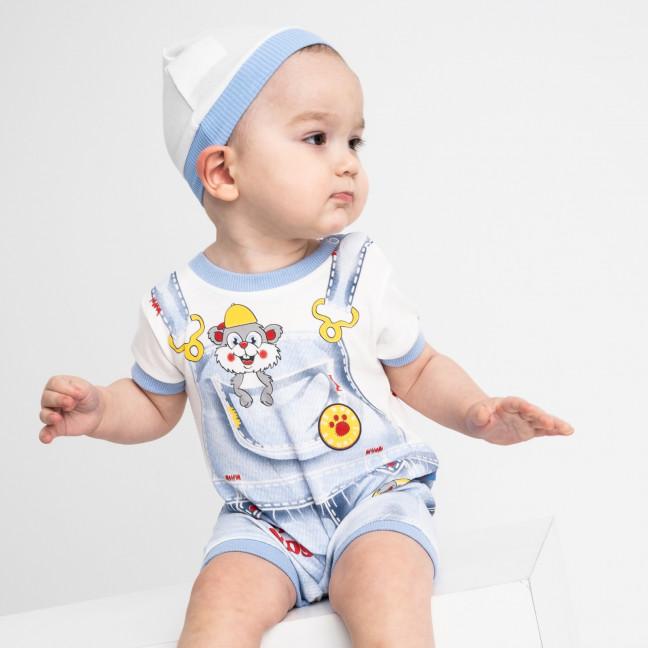 17064 голубой комплект (комбинезон+шапочка) на мальчика 1-9 мес (6 ед. размеры: 62.62.68.68.74.74) Emotion kids: артикул 1118186