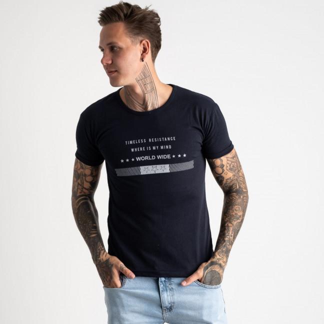 2619-14 темно-синяя футболка мужская с принтом (4 ед. размеры: M.L.XL.2XL) Футболка: артикул 1121050