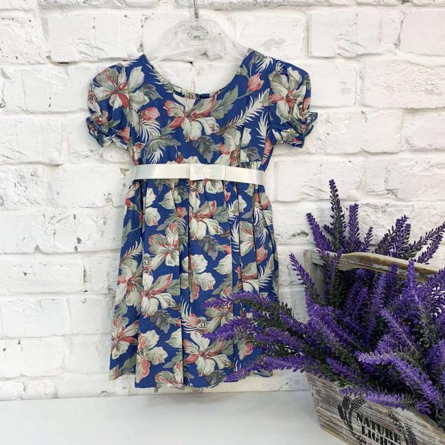 0007-92 платье хлопковое синее с рисунком на девочку 1-4 года (3 ед. размеры: 80.92.104) Маленьке сонечко: артикул 1121808