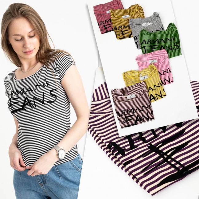 2458-99 футболка  женская стрейчевая  микс 5-ти цветов без выбора цветов (5 ед. размеры: универсал 44-48) Футболка: артикул 1122128