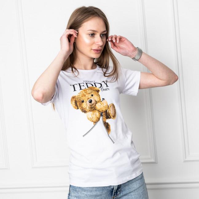 2505-10 Akkaya белая футболка женская с принтом стрейчевая (4 ед. размеры: S.M.L.XL) Akkaya: артикул 1119714