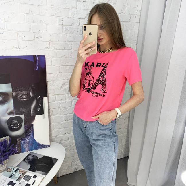 2056-3 футболка розовая женская с принтом (5 ед. размеры: 42.44.46.48.50) Футболка: артикул 1122377
