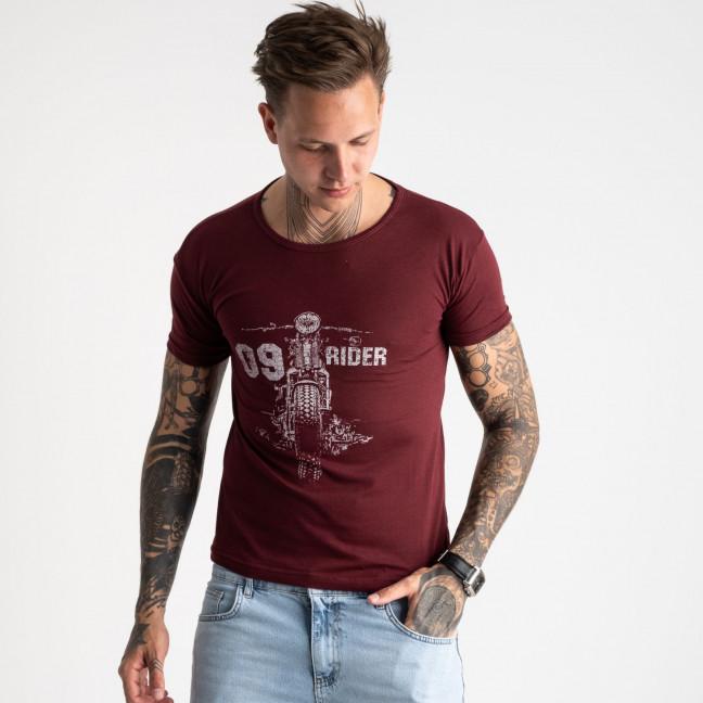2625-9 бордовая футболка мужская с принтом (4 ед. размеры: M.L.XL.2XL) Футболка: артикул 1121082