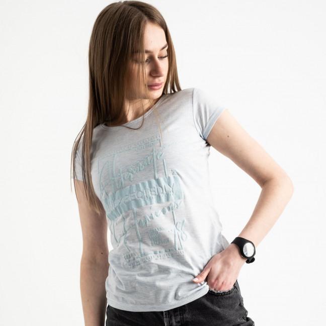 2590-8 Geso голубая футболка женская с принтом (4 ед. размеры: S.M.L.XL) Geso: артикул 1119250