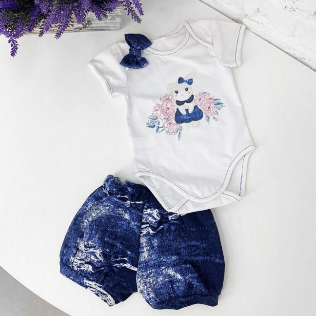 0387-1 детский комплект синий на девочку 3-12 месяцев (3 ед. размеры: 68.74.80) Маленьке сонечко: артикул 1121521