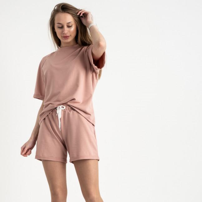 1445-4 Mishely пудровый женский спортивный костюм с шортами (4 ед. размеры: S.M.L.XL) Mishely: артикул 1121753