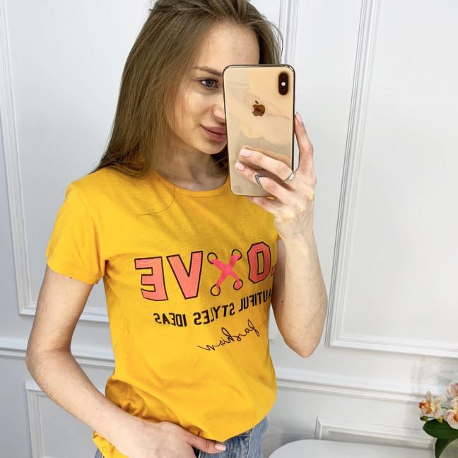 2518-6 Akkaya желтая футболка женская с принтом стрейчевая (4 ед. размеры: S.M.L.XL) Akkaya: артикул 1119800