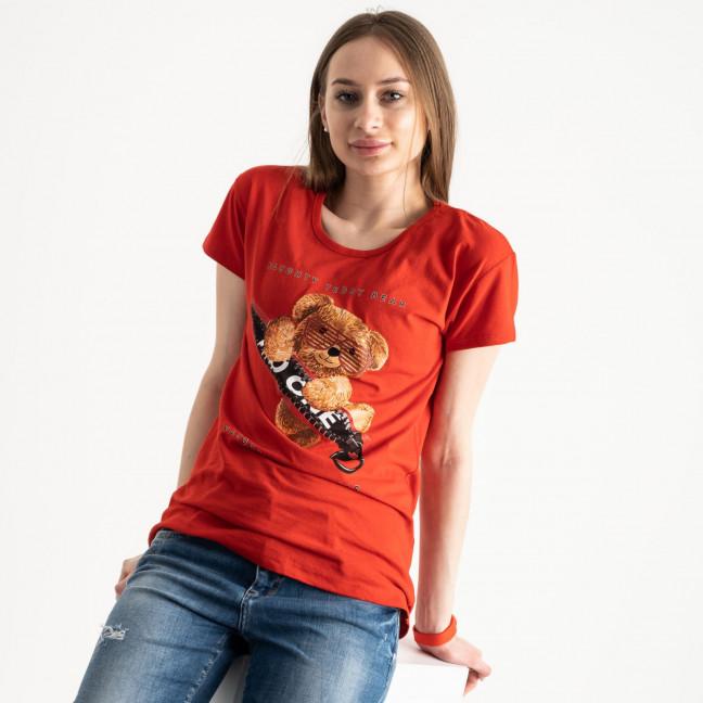 2570-3 красная футболка женская с принтом (3 ед. размеры: S.M.L) Футболка: артикул 1119143