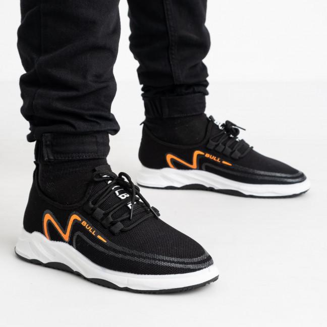 1963-7  кроссовки черные мужские с оранжевым принтом (8 ед. размеры: 41.42/2.43/2.44/2.45) Кроссовки: артикул 1121841