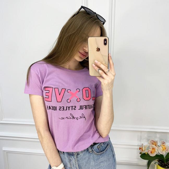 2518-7 Akkaya лиловая футболка женская с принтом стрейчевая (4 ед. размеры: S.M.L.XL) Akkaya: артикул 1119803