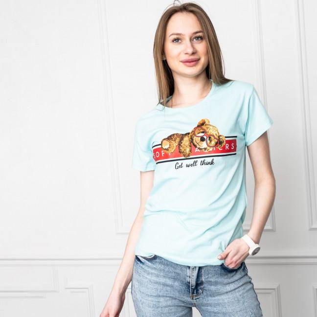2511-4 Akkaya бирюзовая футболка женская с принтом стрейчевая (4 ед. размеры: S.M.L.XL) Akkaya: артикул 1119706