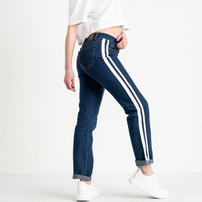 0057 Jushioumfiva джинсы женские синие с белыми лампасами  котоновые ( 6 ед. размеры: 25.26.27.28.29.30) Jushioumfiva: артикул 1118821