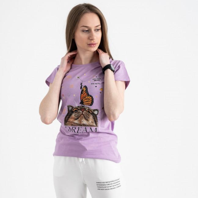 2516-7 Akkaya лиловая футболка женская с принтом стрейчевая (4 ед. размеры: S.M.L.XL) Akkaya: артикул 1119727