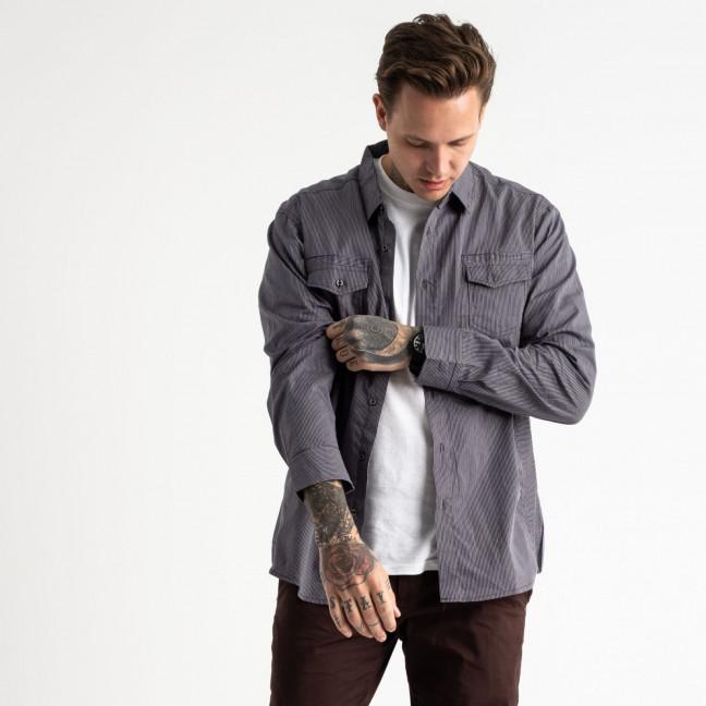1921 Bertigo серая рубашка мужская в полоску (5 ед. размеры: S.M.L.XL.2XL) Bertigo: артикул 1119339