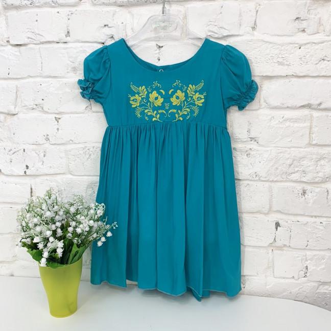 0264-1 платье бирюзовое на девочку 1-3 года (3 ед. размеры: 80.92.104) Маленьке сонечко: артикул 1121513