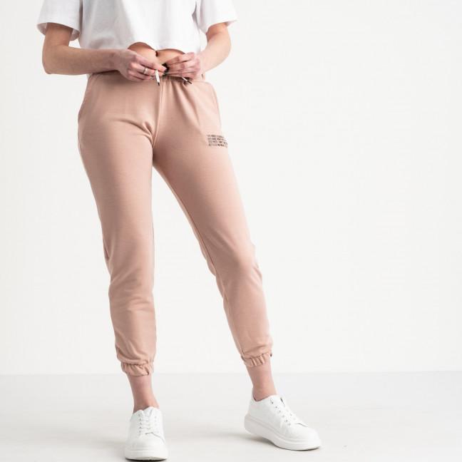 15003 пудровые брюки женские спортивные из двунитки длинна 7/8 (4 ед. размеры: 42.44.46.48) Спортивные штаны: артикул 1118835