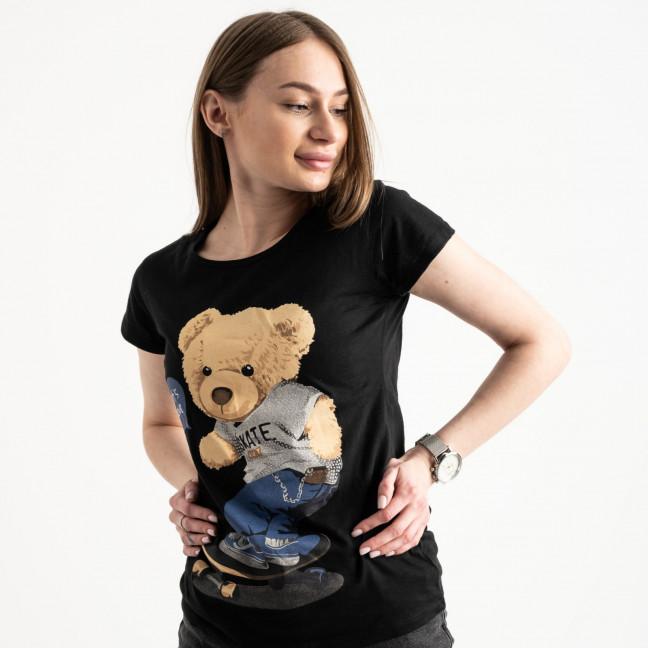 2585-1 черная футболка женская с принтом (4 ед. размеры: S.M.L.XL) Футболка: артикул 1119225