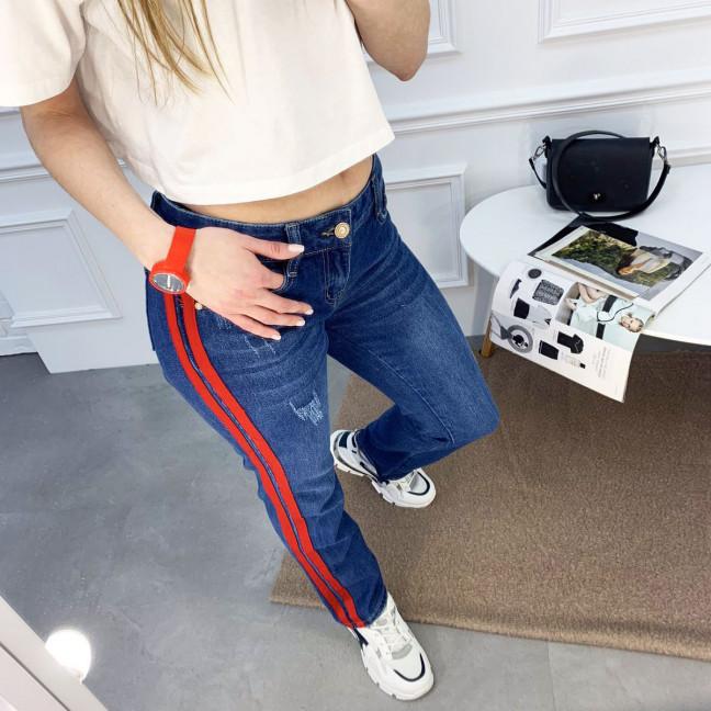 0056 Jushioumfiva джинсы женские синие с красными лампасами котоновые (6 ед. размеры: 25.26.27.28.29.30) Jushioumfiva: артикул 1119129
