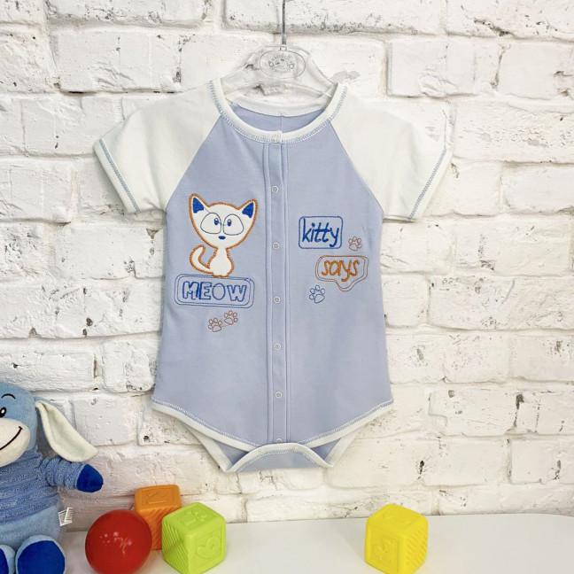 0187-1  голубой боди детский на 1-9 мес. ( 4 ед. размеры: 56.62.68.74) Маленьке сонечко: артикул 1121773