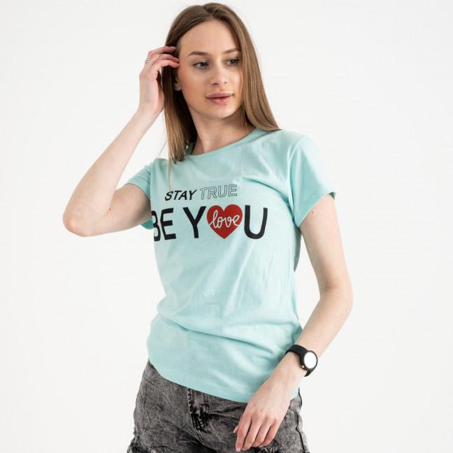 2502-4 Akkaya бирюзовая футболка женская с принтом стрейчевая (4 ед. размеры: S.M.L.XL) Akkaya: артикул 1119829
