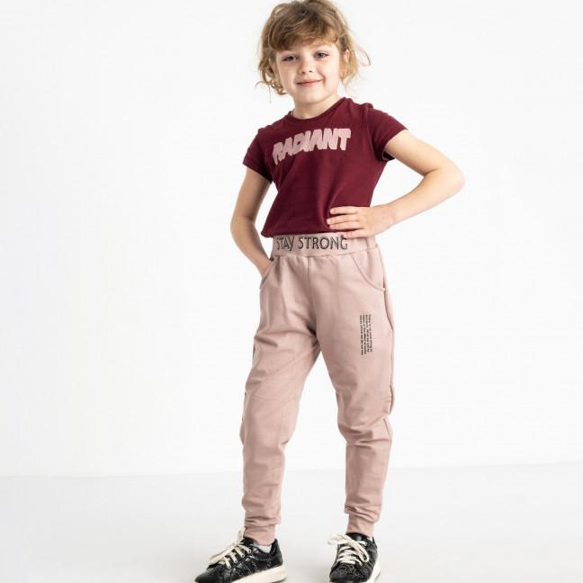 7585-33 бежевые спортивные брюки из двунитки на девочку 6-10 лет (5 ед. размеры: 28/2.30.32.34) Спортивные штаны: артикул 1119959