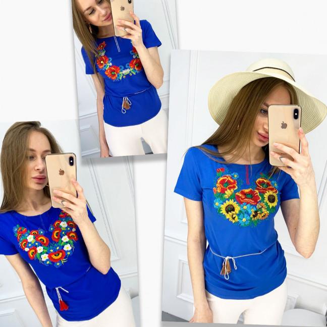 1823 синяя футболка-вышиванка женская микс моделей (5 ед. размеры: S.M.L.XL.2XL) Футболка: артикул 1120649