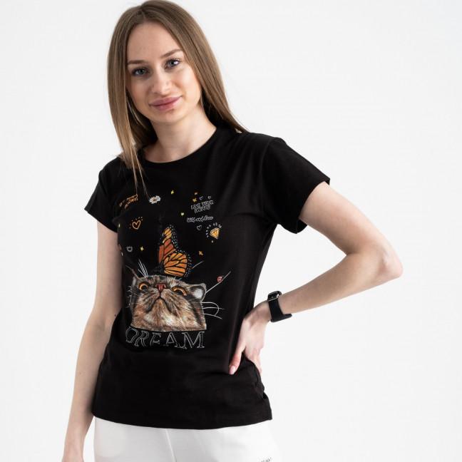 2516-1 Akkaya черная футболка женская с принтом стрейчевая (4 ед. размеры: S.M.L.XL) Akkaya: артикул 1119731