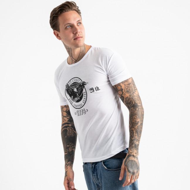 2606-10 белая футболка мужская с принтом (4 ед. размеры: M.L.XL.2XL) Футболка: артикул 1120925