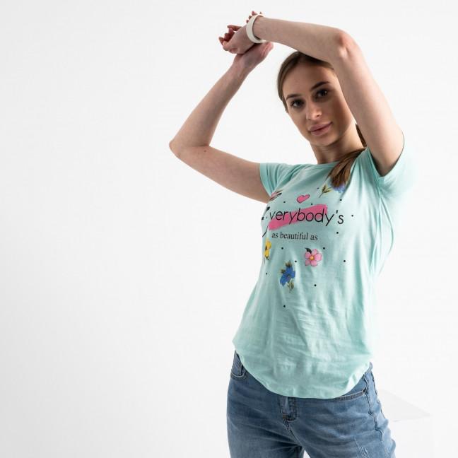 2579-4 бирюзовая футболка женская с принтом (3 ед. размеры: S.M.L) Футболка: артикул 1119193