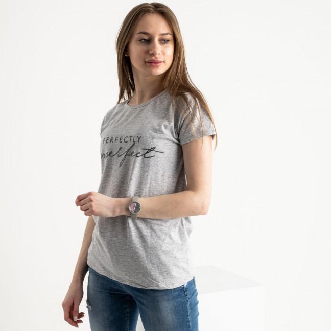 2581-5 серая футболка женская с принтом (3 ед. размеры: S.M.L) Футболка: артикул 1119204