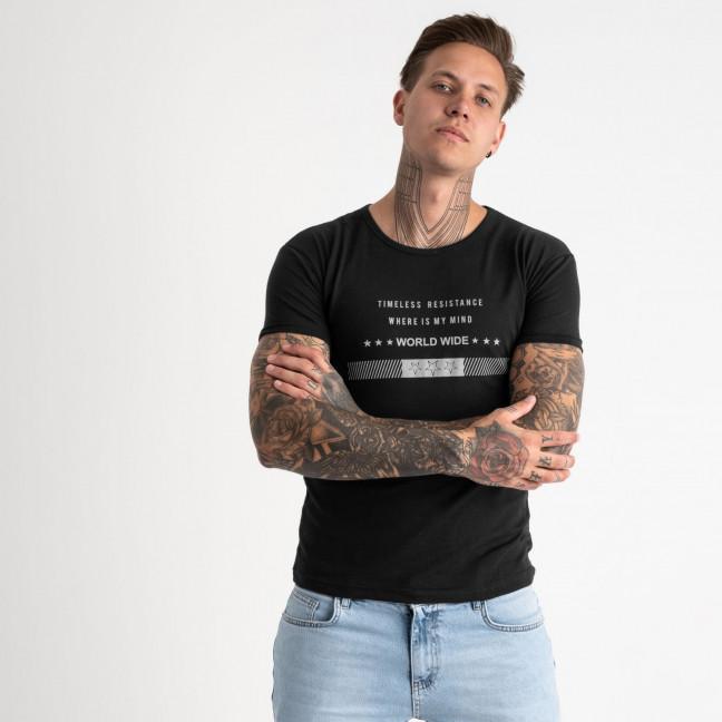 2619-1 черная футболка мужская с принтом (4 ед. размеры: M.L.XL.2XL) Футболка: артикул 1121048