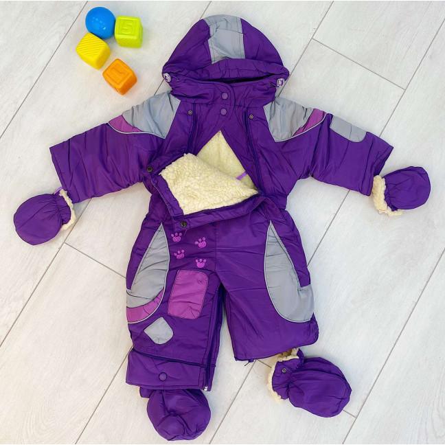 0162-31 Super Clever фиолетовый комбинезон-трансформер на овчине на ребенка от 6 мес до 1,5 года ( 3 ед размеры: 68.80.86) Super Clever: артикул 1123607