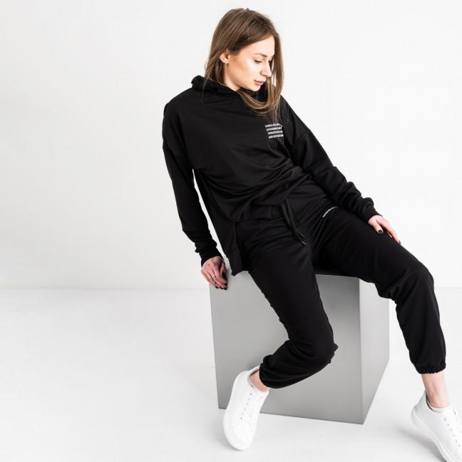15115-1 черный спортивный костюм женский из двунитки (4 ед. размеры: S.M.L.XL) Спортивный костюм: артикул 1118698