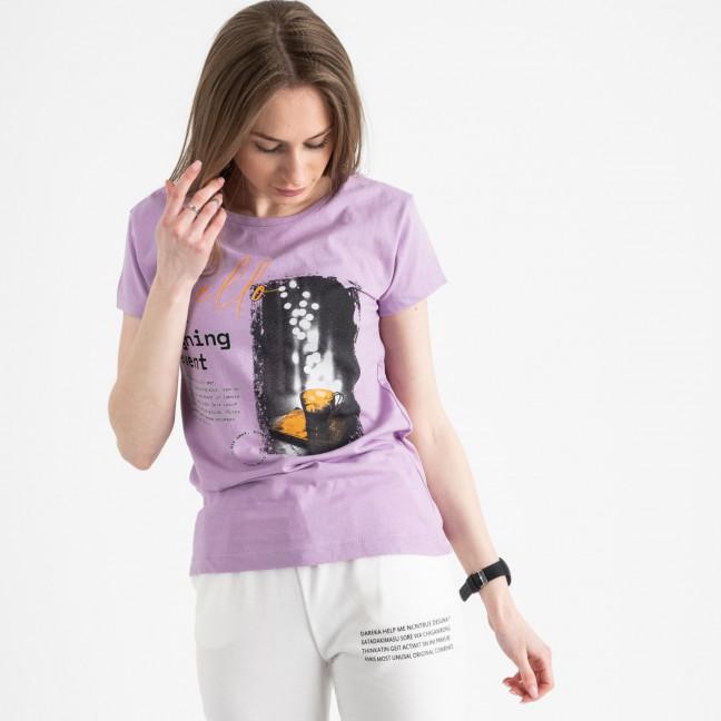 2504-7 Akkaya лиловаая футболка женская с принтом стрейчевая (4 ед. размеры: S.M.L.XL) Akkaya: артикул 1119817