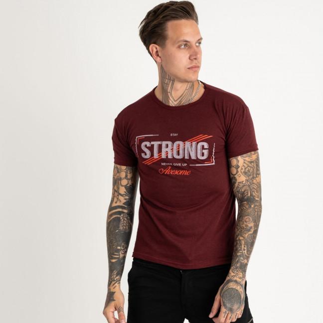 2612-9 бордовая футболка мужская с принтом (4 ед. размеры: M.L.XL.2XL) Футболка: артикул 1120967