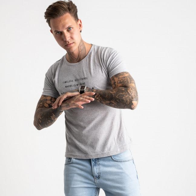2619-5 светло-серая футболка мужская с принтом (4 ед. размеры: M.L.XL.2XL) Футболка: артикул 1121044