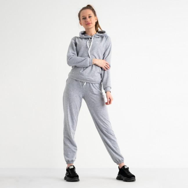 1467-11 серый женский спортивный костюм из двунитки ( 4 ед. размеры: S.M.L.XL) Спортивный костюм: артикул 1117699