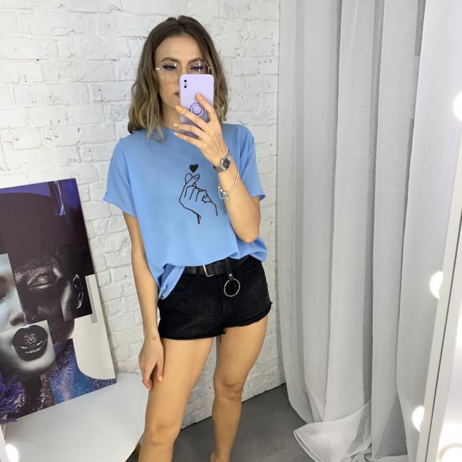 2023-133 футболка голубая женская батальная с принтом (5 ед. размеры: 52.54.56.58.60) Футболка: артикул 1122407