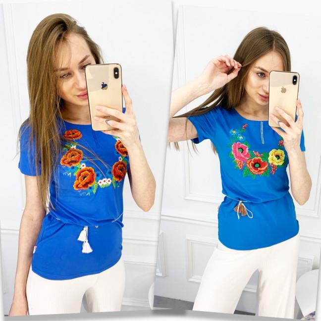1822 голубая футболка-вышиванка женская с маком (5 ед. размеры: S.M.L.XL.2XL) Футболка: артикул 1120654