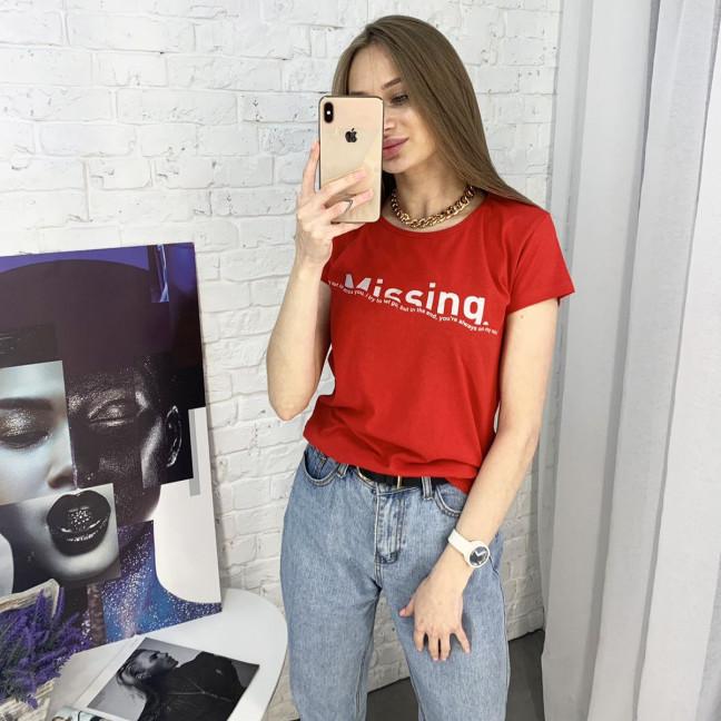 2401-3 красная футболка женская с принтом (4 ед. размеры: S.M.L.XL) Футболка: артикул 1122358