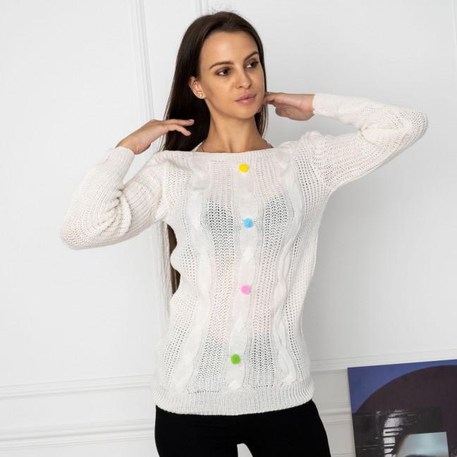 5109-10 свитер женский белый вязанный (3 ед. размеры: универсал 42-46) Свитер: артикул 1123653