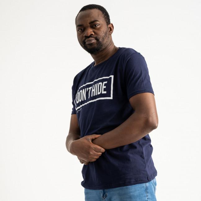 2707 синяя футболка батальная мужская с принтом (4 ед. размеры: XL.2XL.3XL.4XL) Футболка: артикул 1118888