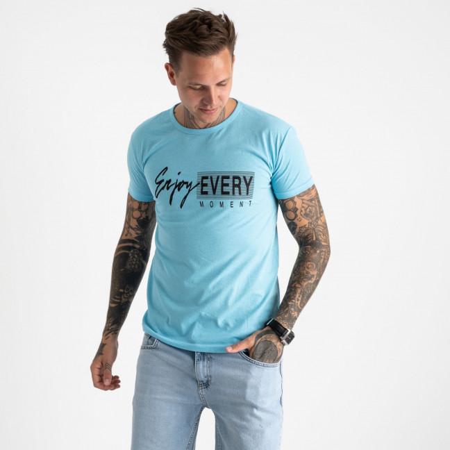 2616-13 голубая футболка мужская с принтом (4 ед. размеры: M.L.XL.2XL) Футболка: артикул 1121023