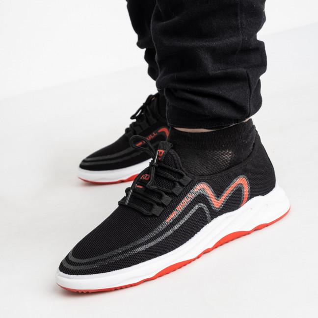 1968-2  кроссовки черные мужские с красным принтом (8 ед. размеры: 41.42/2.43/2.44/2.45) Кроссовки: артикул 1121847