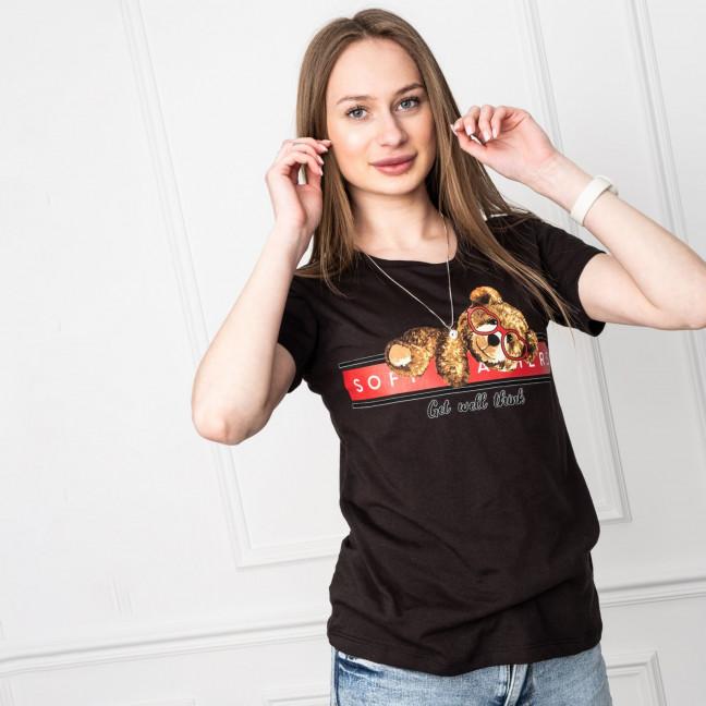 2511-1 Akkaya черная футболка женская с принтом стрейчевая (4 ед. размеры: S.M.L.XL) Akkaya: артикул 1119708