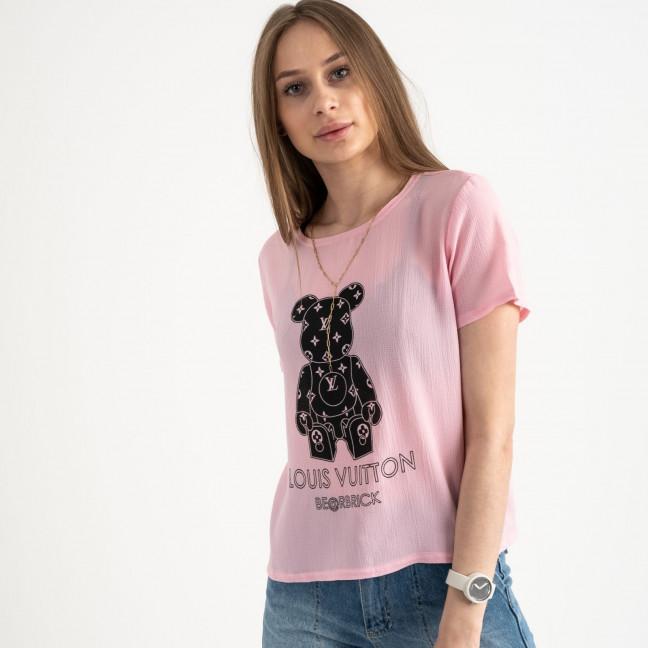 2023-33 футболка розовая женская с принтом (5 ед. размеры: 42.44.46.48.50) Футболка: артикул 1122392